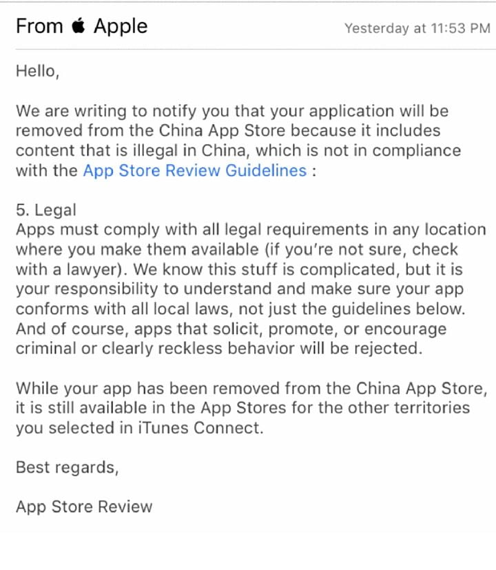 Apple removes VPN apps in China according to the law
