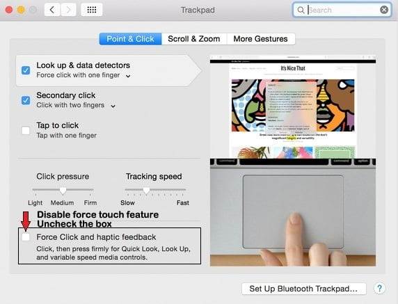 How to disable Force Touch on MacBook