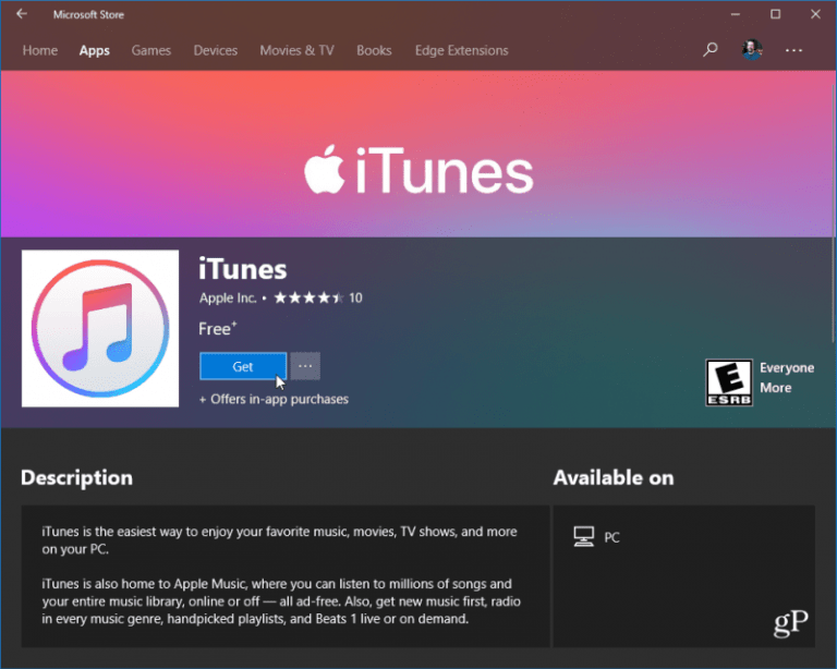 iTunes is now available for download from the Windows store