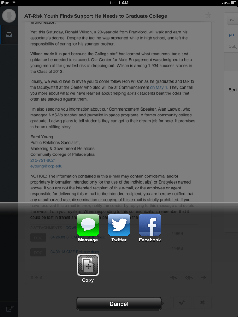 New version for iOS 7 of Evomail, the mail client