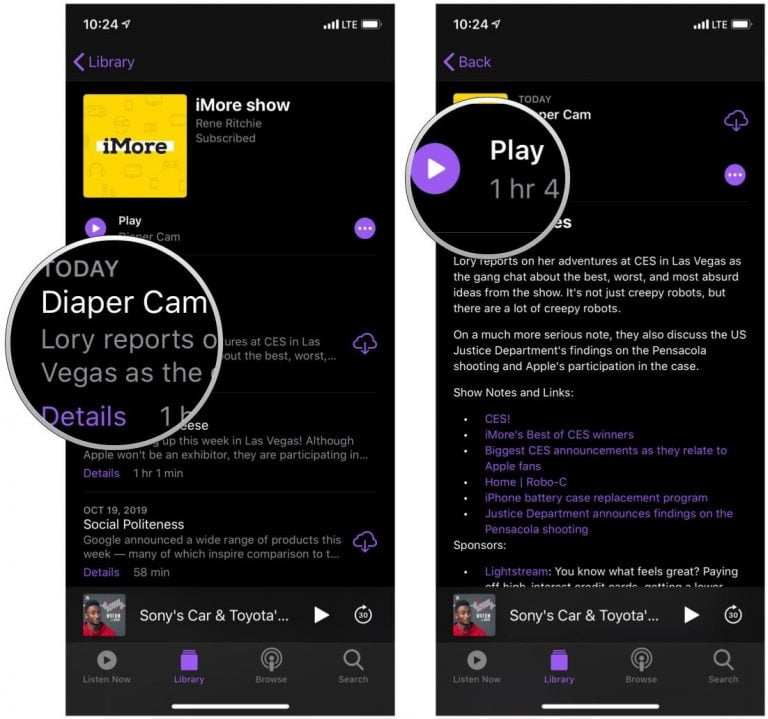 Podcasts for iOS, choose to download or listen via streaming