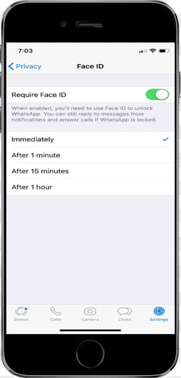 Protecting WhatsApp with Face ID or Touch ID in iOS