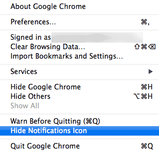 Remove the Chrome Notifications icon on OS X