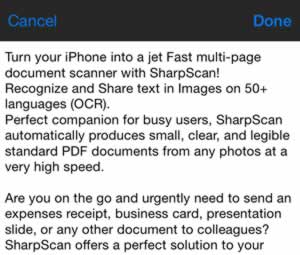 SharpScan, a document scanner on your iOS device