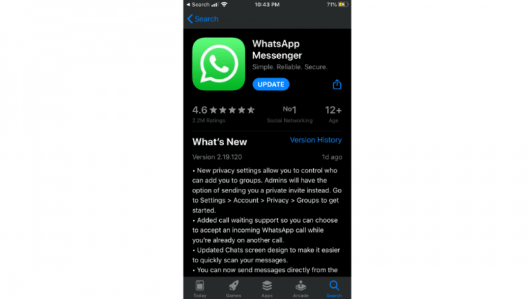 WhatsApp for iOS 7 rejected