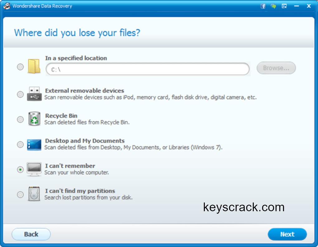 Wondershare Data Recovery, recover lost files