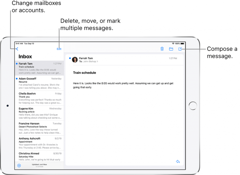 Changing the Default Email Account on the iPad or iPad Mini