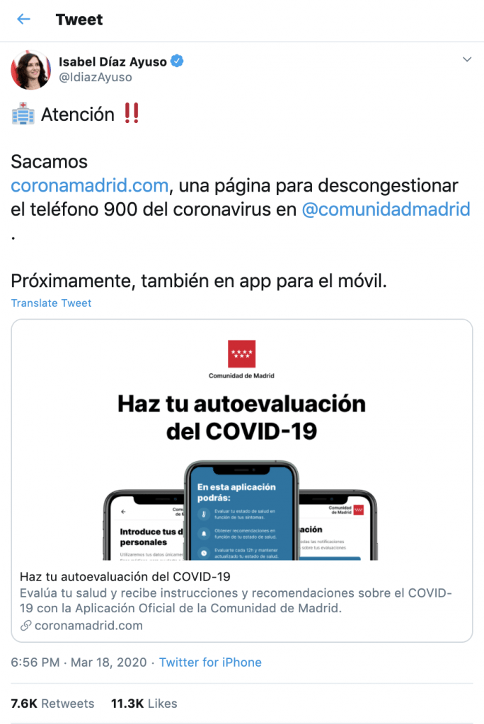 CoronaMadrid, a self-diagnosis app for the COVID-19 of the Community of Madrid, can now be downloaded to the iPhone