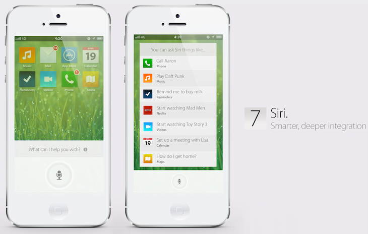 iOS 7 concept with a totally new interface and much more