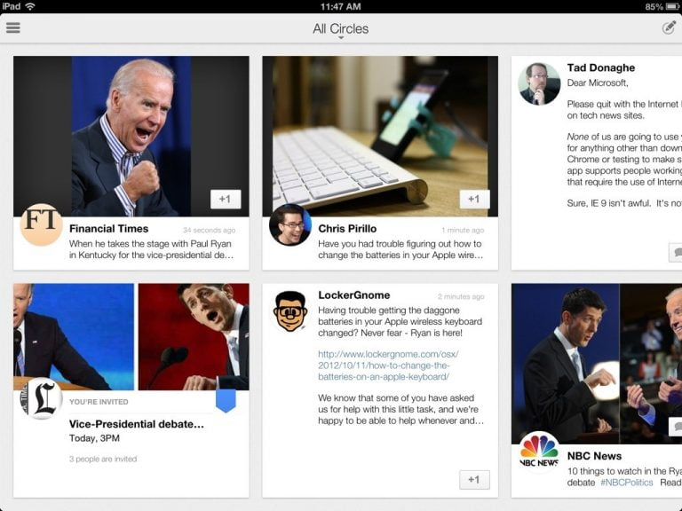 Official Google+ App for iPad now available