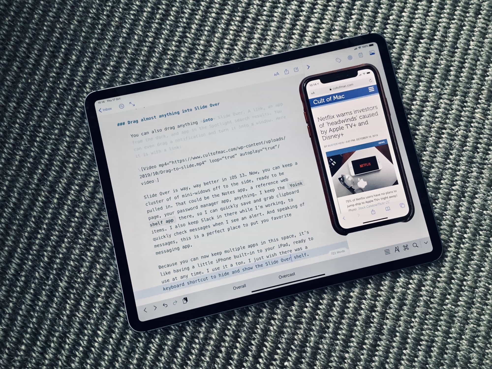 Using Slide Over on iPad Pro with iOS 12