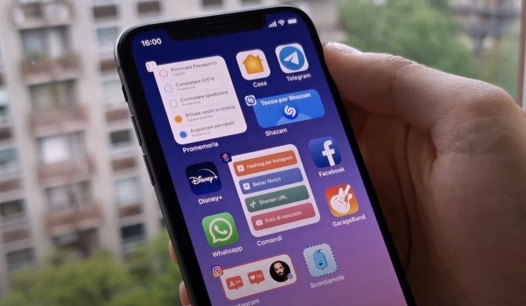 A purported new iOS 14 image shows an iPhone with a smaller footprint and widgets on the Home screen