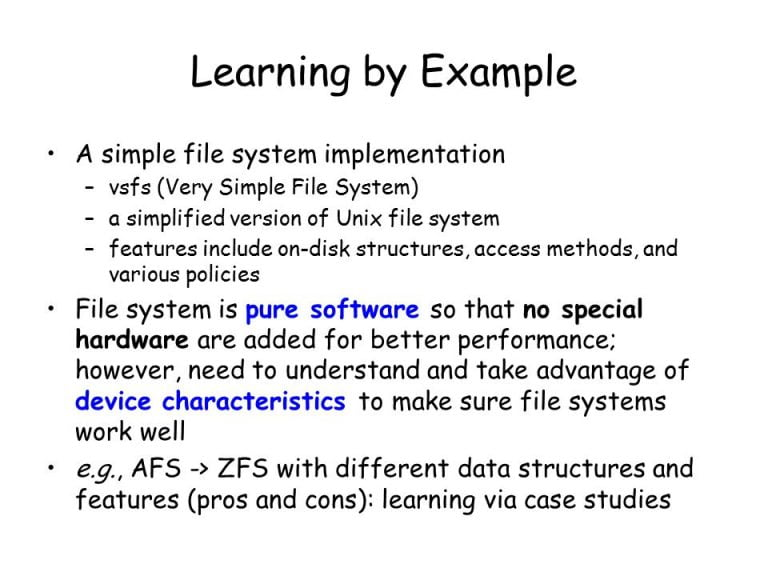 An example of implementation for a file system