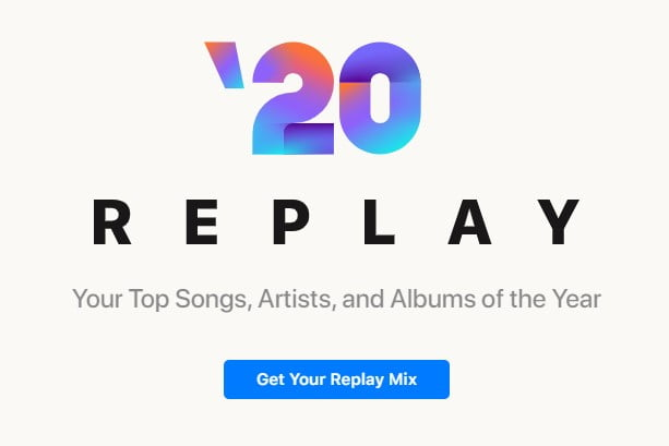 Apple Music Replay now supports the creation of the 2020 custom playlist