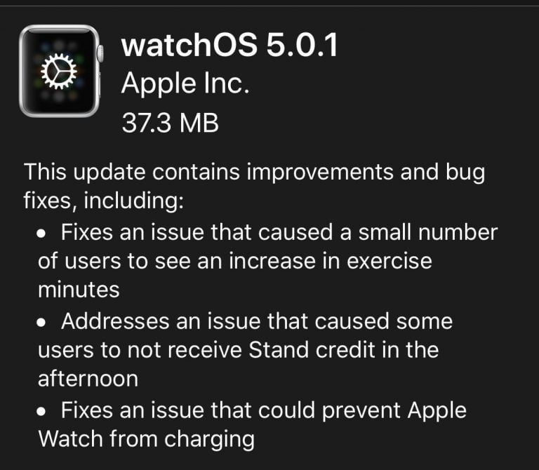 Apple releases watchOS version 5.0.1 with bug fixes