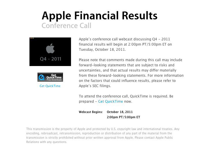 Apple to Announce First Financial Results for 2011 on January 18