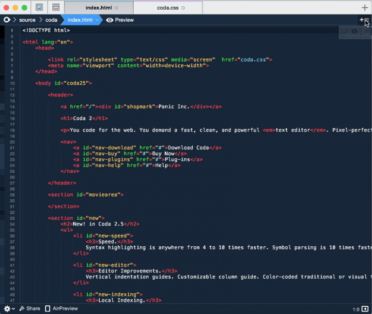 Coda 1.5, Panic's editor+FTP continues to evolve