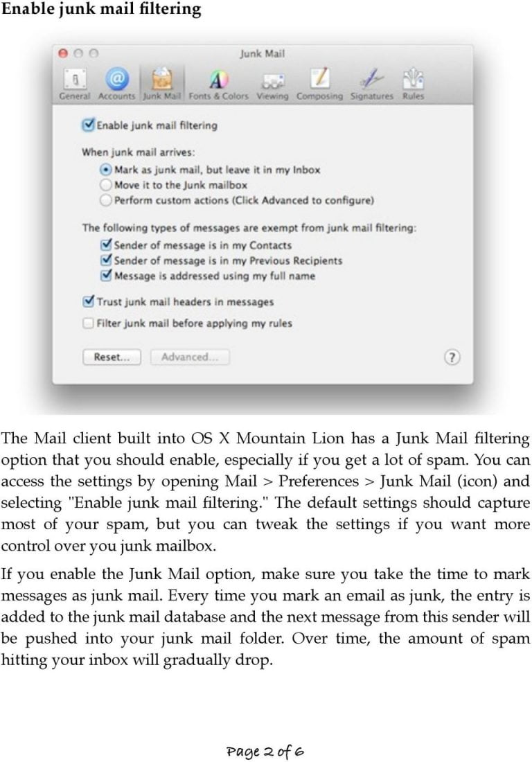 Control your junk mail in Mail