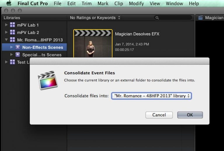 Copying individual iMovie events between multiple Macs