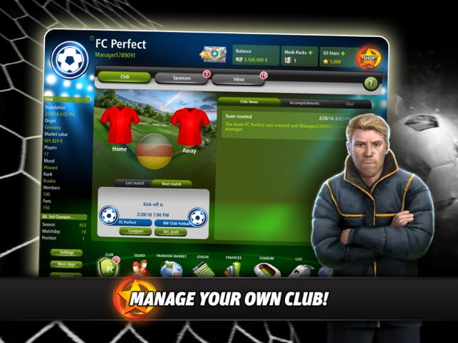 Goal Tactics, Become a Football Club Manager with your iPad