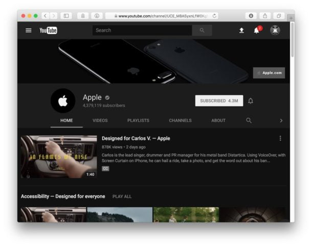 How to activate YouTube's dark mode using Safari on MacOS