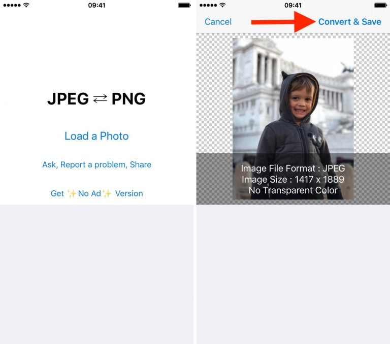 How to convert images in different formats from iOS