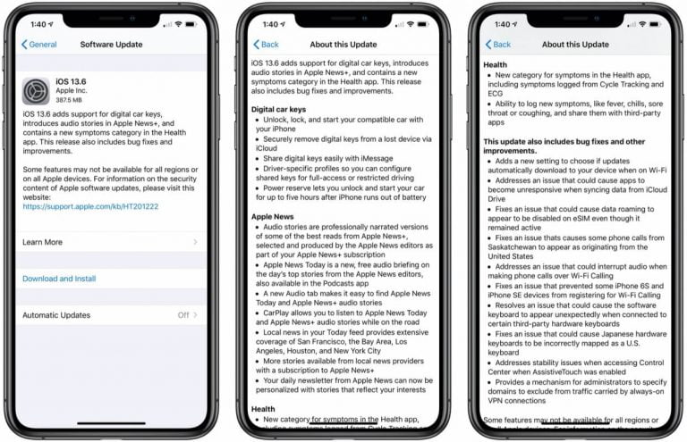 iOS 13.6 with CarKey now available, plus options for automatic updates, Health app symptoms, and more