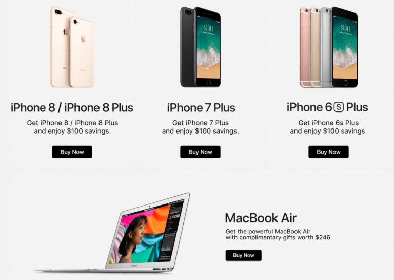 Offers and discounts on Apple products and accessories