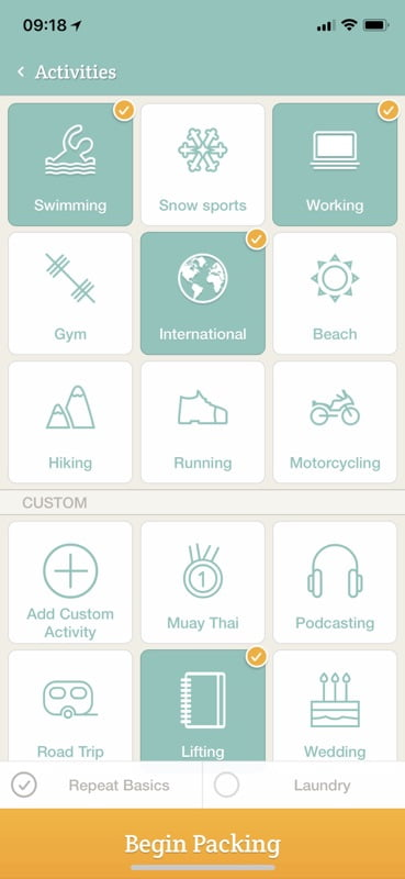 PackPoint, travel packaging on the App Store