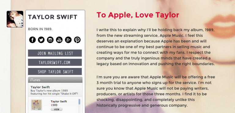 Taylor Swift doesn't cut herself and say no to Apple Music