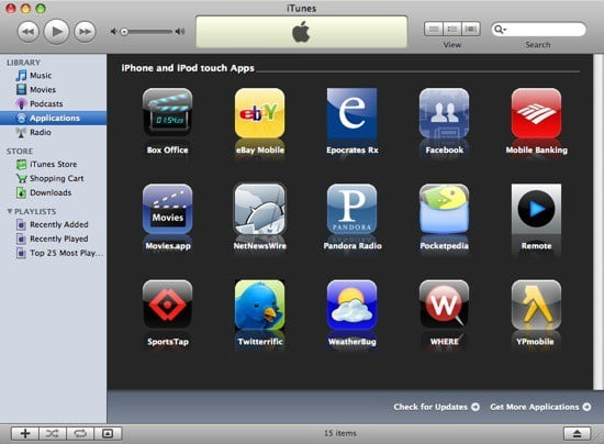 The new firmware 2.0 application store