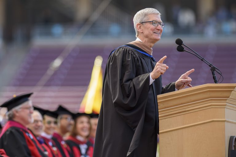Tim Cook is giving a talk at Duke University