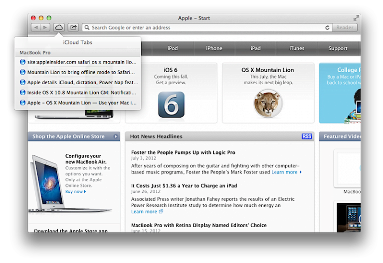 Using the Offline Listing Feature in Safari 6