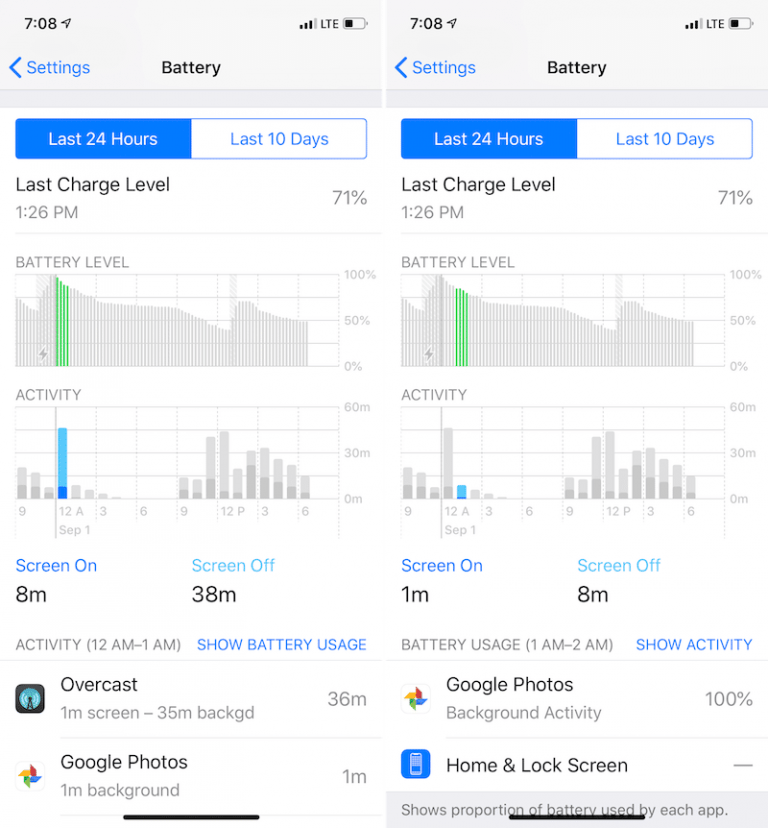 Which one has better battery life compared to the latest versions of iOS 8?
